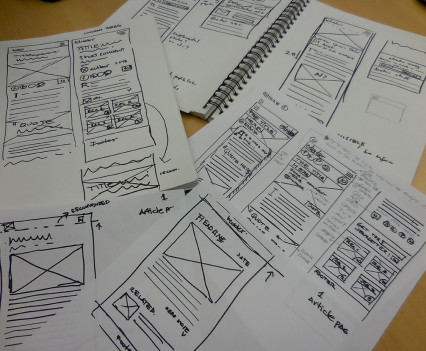 Wireframing using design studio method.